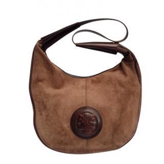 Fendi Brown Suede Vintage Leather Trim Hobo Bag