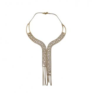 Swarovski Gold Tone Crystal Embellished Waterfall Necklace