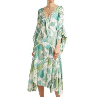 Peter Pilotto Leaf-print tie-front crepe dress