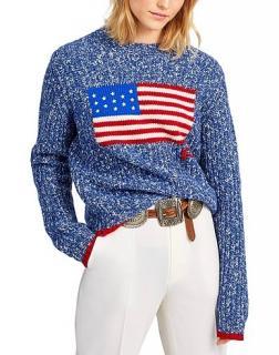 Polo Ralph Lauren Blue Intarsia Flag Speckled Jumper