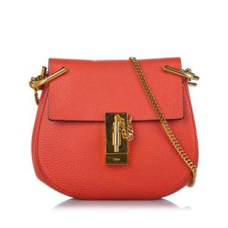 Chloe Orange Leather Drew Crossbody Bag