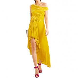 Monse Off-Shoulder Knotted Yellow Velvet Dress