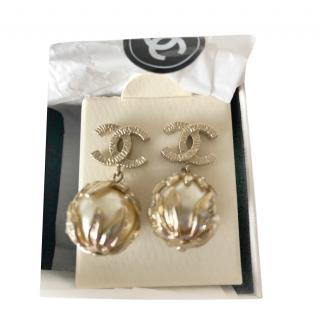 Chanel Gold Tone Faux Pearl Vine Wrapped CC Earrings