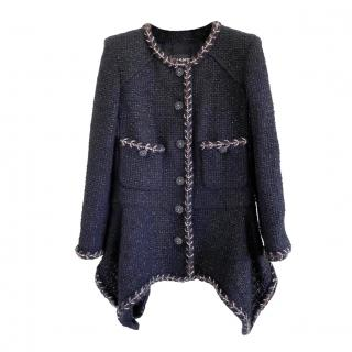 Chanel Black Fantasy Tweed Asymmetric Jacket