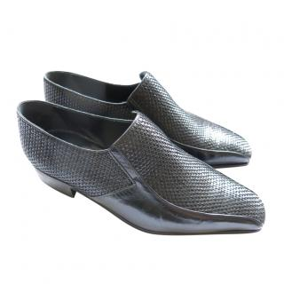 Artioli Black Hand Made Woven Leather Loafers