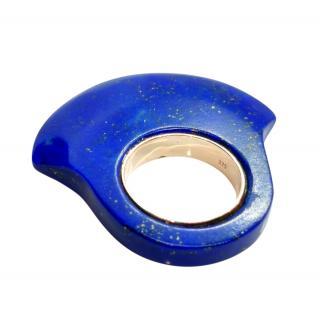 Bespoke Gold Lapis Lazuli Hand Carved Ring
