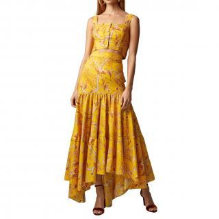 Johanna Ortiz La Cumbia Asymmetric Floral Cotton-poplin Skirt