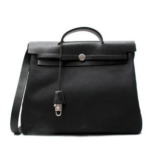 Hermes Black Canvas & Leather Herbag MM
