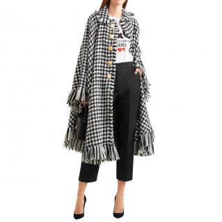 Dolce & Gabbana Virgin Wool Fringed Cape Coat