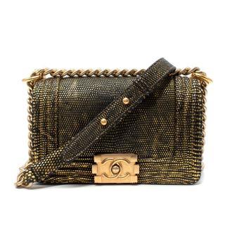 Chanel Small Lizard Black & Gold Metallic Boy Bag