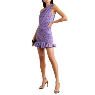 Redemption Lilac One-shoulder ruched metallic stretch-jersey dress
