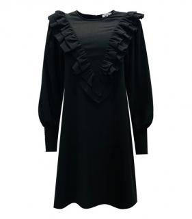 Ganni Black Frilled Mini Dress