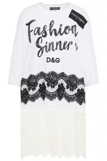 Dolce & Gabbana Fashion Sinner Jersey T-shirt W/ Lace