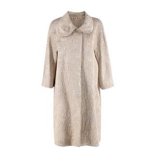 Marni Tone Silk & Wool Brocade Metallic Coat