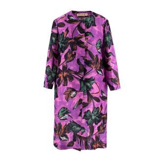 Marni Purple Floral Print Lightweight Coat