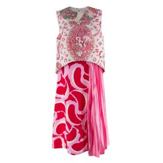 Marni Jacquard Panel Multicoloured Paisley Floral Print Dress