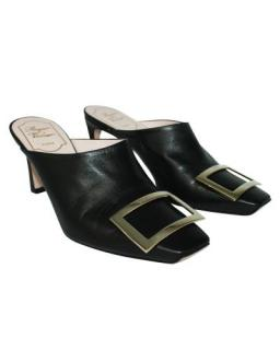 Roger Vivier Black Leather Buckle Detail Square Toe Mules