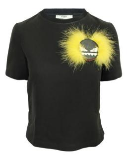Fendi Black Monster Fur Applique T-Shirt