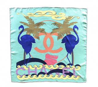 Chanel Turquoise Printed 90cm Silk Scarf