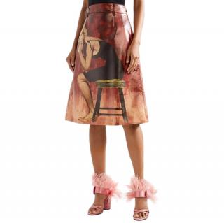 Prada Poster Girl-print Coated-cotton Midi Skirt