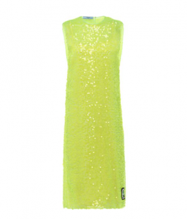 Prada Neon Sequin Embellished Midi Dress