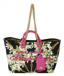 Dolce & Gabbana Black Floral Porto Cervo Capri Tote
