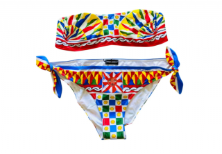 Dolce & Gabbana Carretto Print Bandeau Bikini