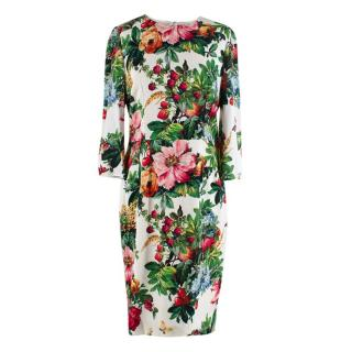 Dolce & Gabbana Knee Length White Floral Dress