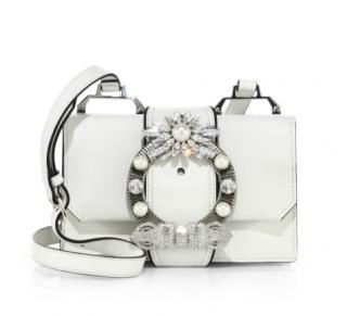 Miu Miu White Crystal-embellished Madras Leather Shoulder Bag