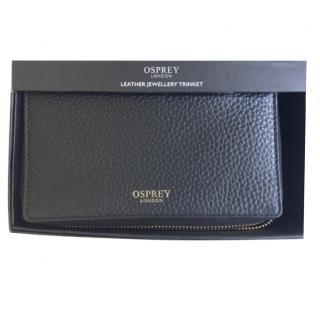 Osprey Black Leather Travel Jewellery Case