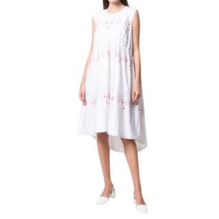 Simone Rocha White & Red Embroidered Cotton Dress