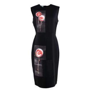 Prada Black Floral Panel Print Silk Dress