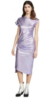 Paco Rabanne Purple Metallic Stretch Midi Dress