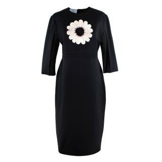 Prada Black Cream Flower Embellishment Silk Dress