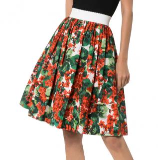 Dolce & Gabbana Geranium Print Pleated Skirt