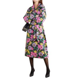 Balenciaga Belted Floral Print Cotton-Drill Trench Coat