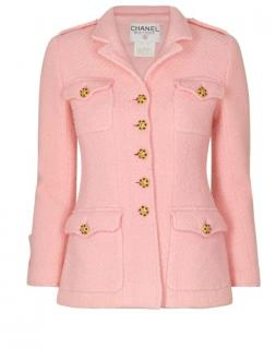 Chanel Pink Boucle Wool Military Style Jacket