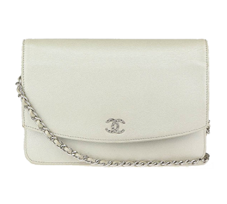 Chanel Caviar Leather Snow White Sevruga Wallet on Chain