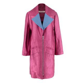 Rodarte Fuchsia Glitter Coat with Contrast Lapels