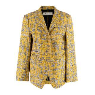 Marni Yellow/Black/Ecru Boucle Tweed Tailored Jacket
