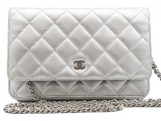 Chanel Silver Lambskin Quilted Wallet on Chain