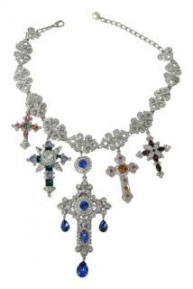 Dolce & Gabbana Crystal Embellished Multi-Cross Necklace