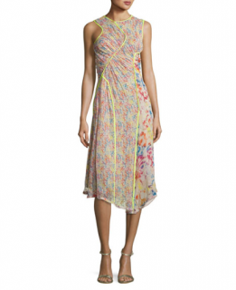 Jason Wu Floral-print Crinkled Chiffon Sleeveless Midi Dress