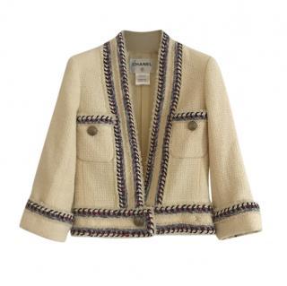 Chanel Paris/Versaille Ecru Tweed Braided Trim Special Order Jacket
