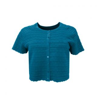 Alaia Green Button Down Cropped Cardigan