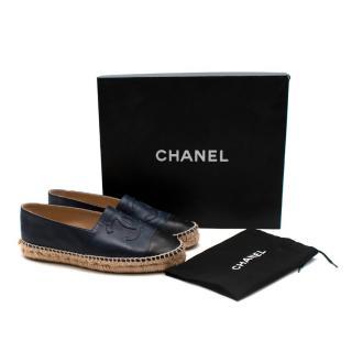Chanel Black & Navy Lambskin Espadrilles