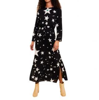 RIXO Alice Ibiza Star Black Long Sleeve Dress