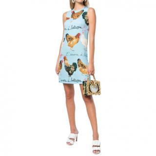 Dolce & Gabbana Blue Rooster Print Dress