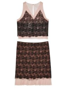 Chanel Blush/Black Camellia Lace Skirt & Top