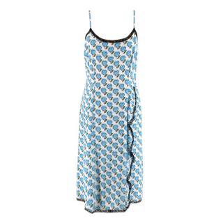 Prada White & Blue Hearts Print Lace Trim Cami Dress